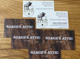 Sarge's Attic Second Hand Store in Forks, Wa now has gift cards